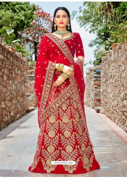 Red Micro Velvet Embroidered Lehenga Choli