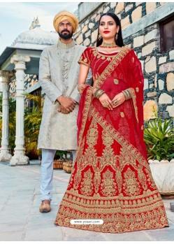 Red Satin Silk Embroidered Lehenga Choli