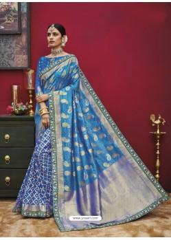 Markable Blue Silk Saree