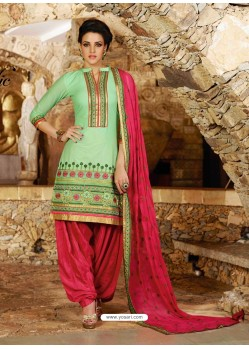 Pink And Green Cotton Punjabi Patiala Suit