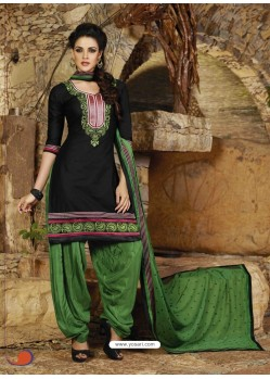 Black And Green Cotton Punjabi Patiala Suit