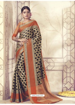 Stupendous Black Silk Saree