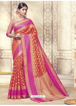 Unbelievable Tomato Red Silk Saree