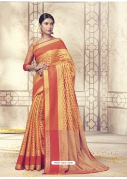Wonderful Mustard Silk Saree