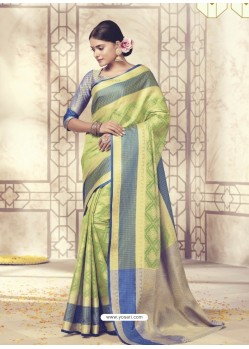 Mind Blowing Parrot Green Silk Saree