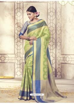 Mind Blowing Parrot Green Silk Saree