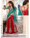 Teal Blue And Maroon Net Designer Lehenga Saree