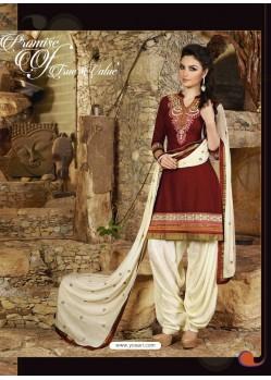 Maroon Cotton Punjabi Patiala Suit