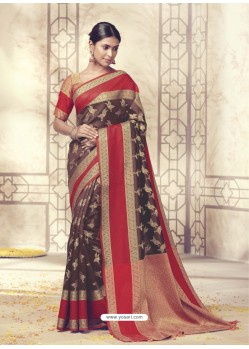 Attractive Deep Scarlet Silk Saree