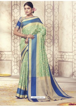 Glamorous Sea Green Silk Saree