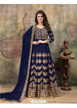 Dark Blue Faux Georgette Embroidered Floor Length Suit