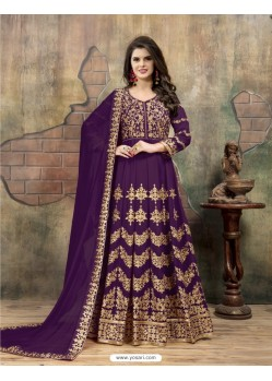 Purple Faux Georgette Embroidered Floor Length Suit