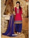 Red And Blue Cotton Punjabi Patiala Suit