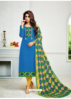 Blue Cambric Cotton Kalamkari Suit