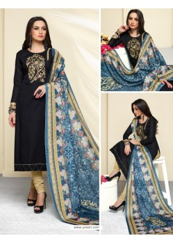 Black Cotton Printed Suit
