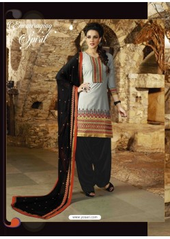 Grey And Black Cotton Punjabi Patiala Suit