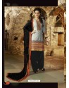 Grey And Black Cotton Punjabi Patiala Suit