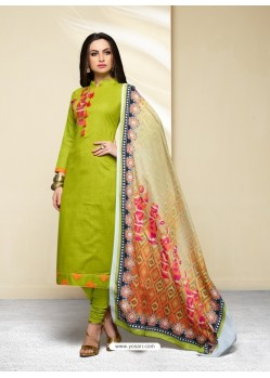 Parrot Green Cotton Printed Suit