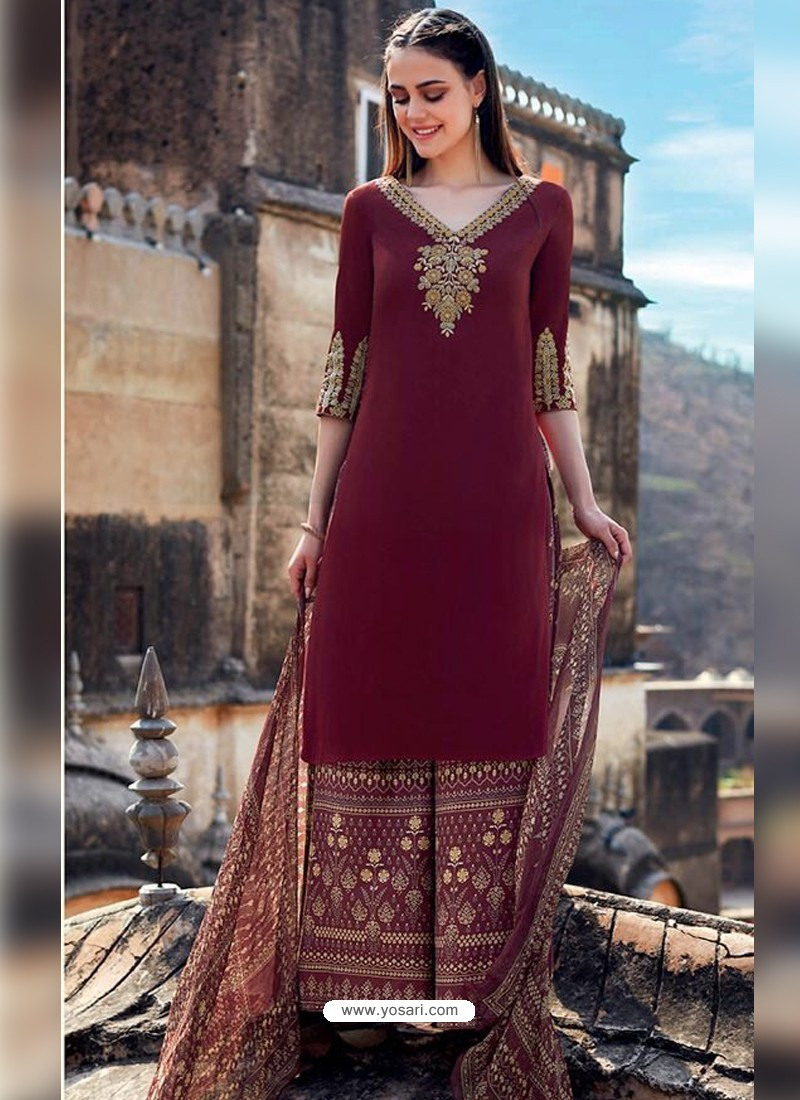 8ab40e734f0 Buy Maroon Pure Cotton Embroidered Palazzo Suit