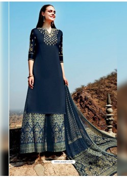 Peacock Blue Pure Cotton Embroidered Palazzo Suit