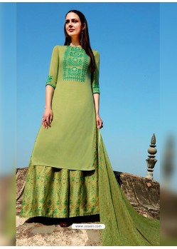 Mehendi Pure Cotton Embroidered Palazzo Suit