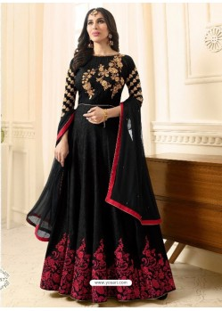 Adorable Black Raw Silk Embroidered Floor Length Suit