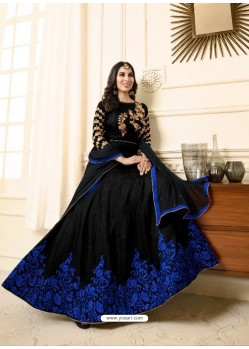 Astonishing Black Raw Silk Embroidered Floor Length Suit