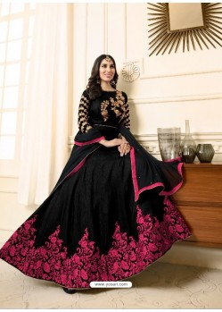Georgeous Black Raw Silk Embroidered Floor Length Suit