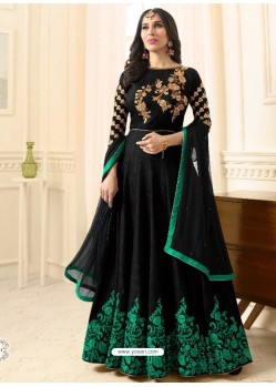 Flawless Black Raw Silk Embroidered Floor Length Suit