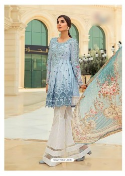 Grey Cambric Cotton Embroidered Suit