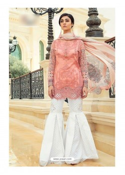 Peach Cambric Cotton Embroidered Suit