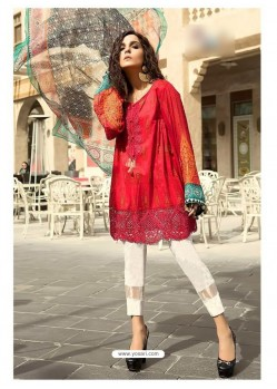 Red Cambric Cotton Embroidered Suit