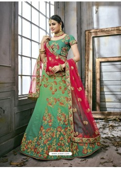 Jade Green Art Silk Embroidered Lehenga Choli