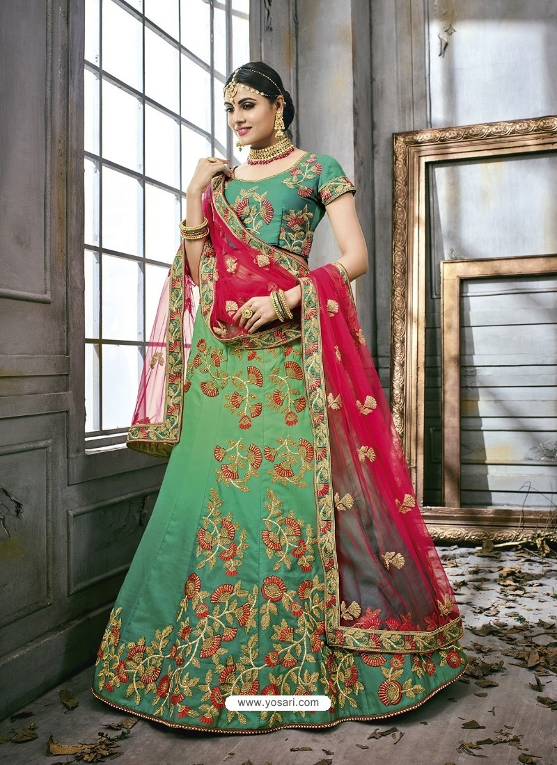 20e613c98ca059 Buy Jade Green Art Silk Embroidered Lehenga Choli