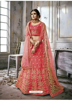 Peach Art Silk Embroidered Lehenga Choli