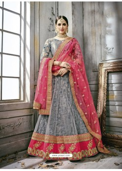 Grey Art Silk Embroidered Lehenga Choli
