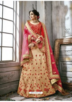 Cream Art Silk Embroidered Lehenga Choli