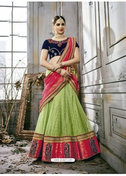 Green Art Silk Embroidered Lehenga Choli