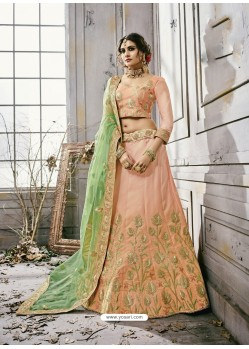 Baby Pink Art Silk Embroidered Lehenga Choli
