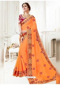 Orange Georgette Embroidered Saree