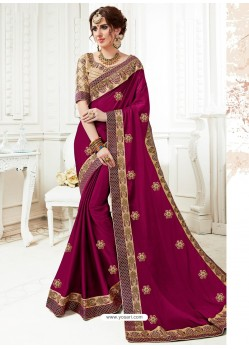 Deep Wine Georgette Embroidered Saree