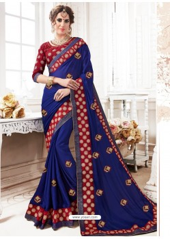 Dark Blue Georgette Embroidered Saree