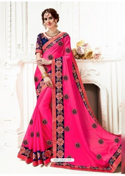 Rani Georgette Embroidered Saree