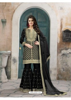 Black Art Silk Embroidered Palazzo Suit