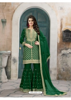 Dark Green Art Silk Embroidered Palazzo Suit