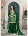 Dark Green Art Silk Embroidered Palazzo Suit
