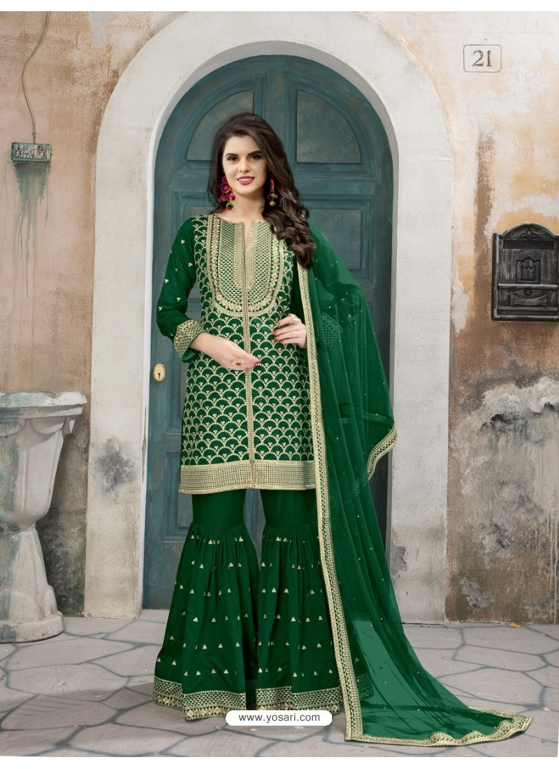 0725ac67d1 Buy Dark Green Art Silk Embroidered Palazzo Suit | Palazzo Salwar Suits