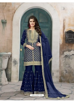 Dark Blue Art Silk Embroidered Palazzo Suit