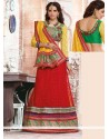 Yellow And Red Cotton Brasso Lehenga Saree