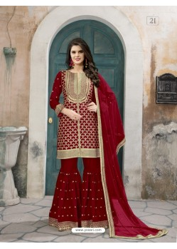 Wine Art Silk Embroidered Palazzo Suit